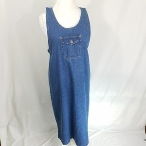 Bill Blass Women's Vintage Jean Jumper Dress Sz M